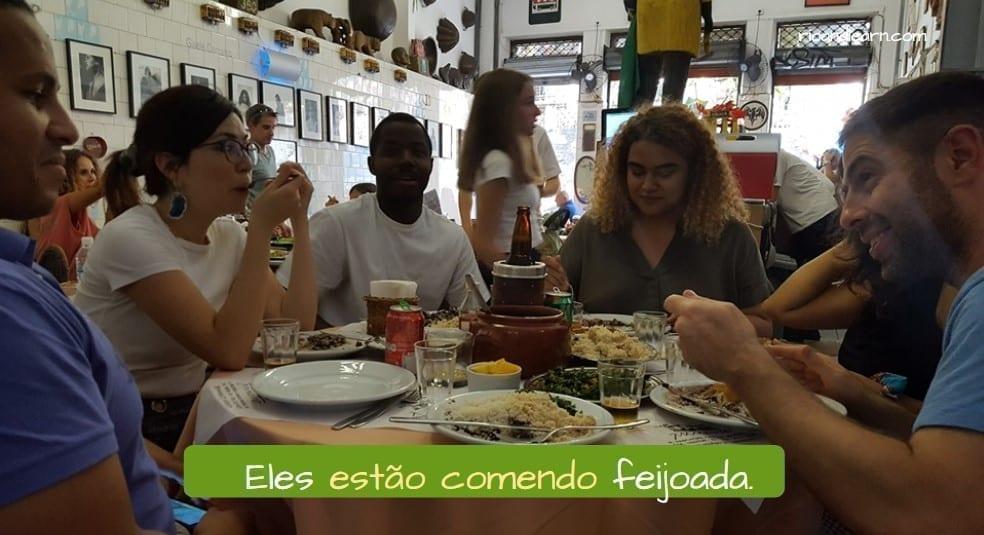 Example of Portuguese Regular Verbs in ER: Eles estão comendo feijoada.