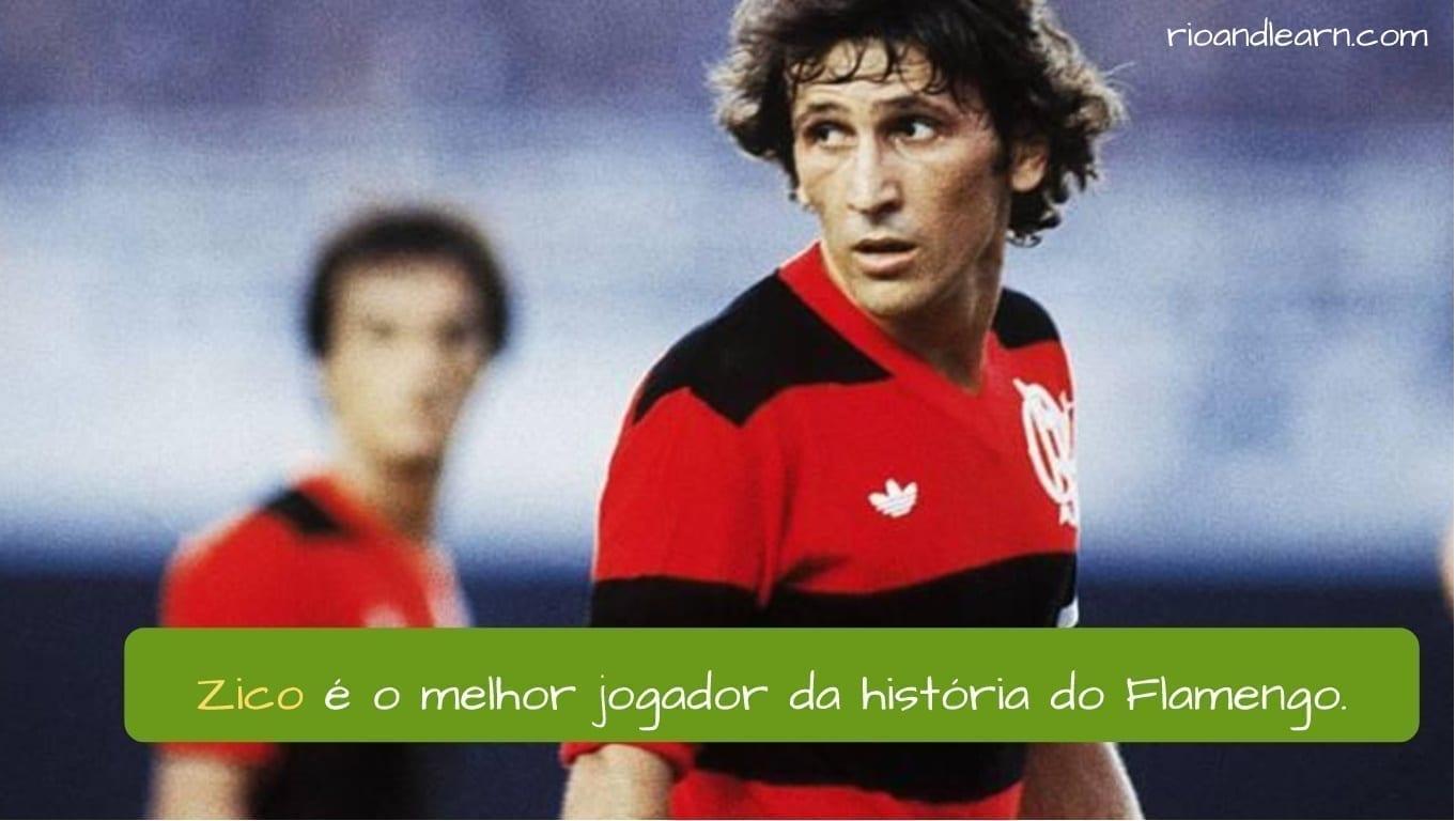 Zico con la camiseta del Flamengo.