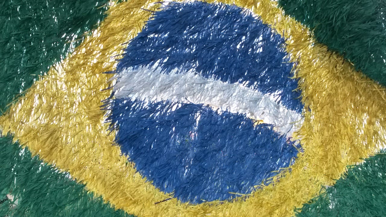 Candomblé in Brazil. Picture of a hand made Brazilian flag in Salvador, Bahia.