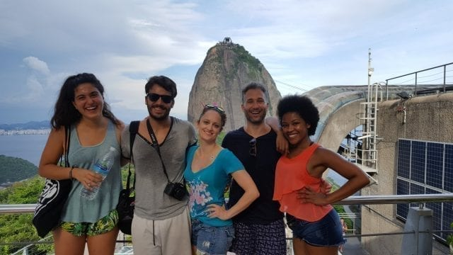 Charmed by Sugarloaf Mountain. Students at the top of the Urca Mountain.