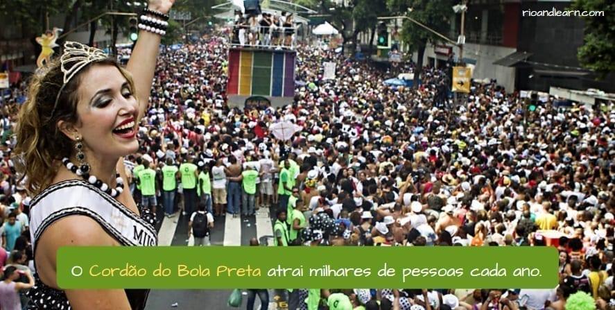 Best Blocos in Rio. O cordão do bola preta atrai milhares de pessoas cada ano.