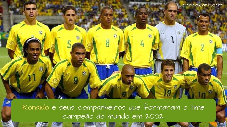Brazilian Football Player Ronaldo. Ronaldo e seus companheiros que formaram o time campeão do mundo em 2002.