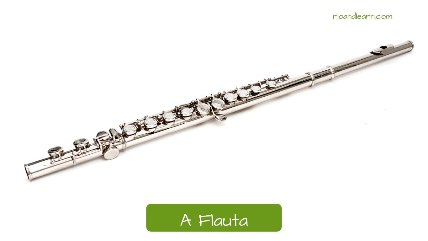 Musical instruments in Brazilian Portuguese: A Flauta. the flute.