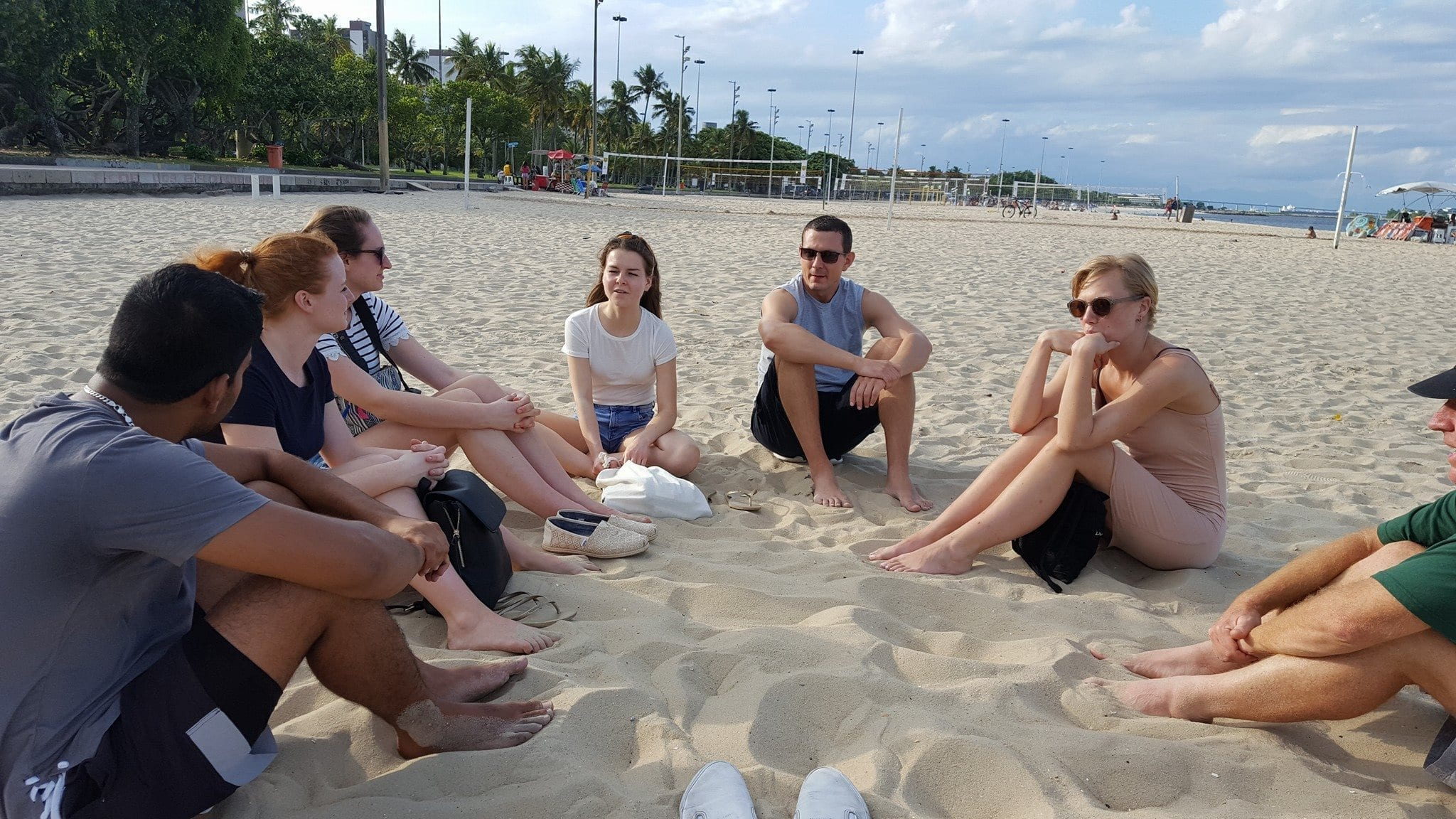 Enjoying the sun and playing a game at Flamengo Beach.