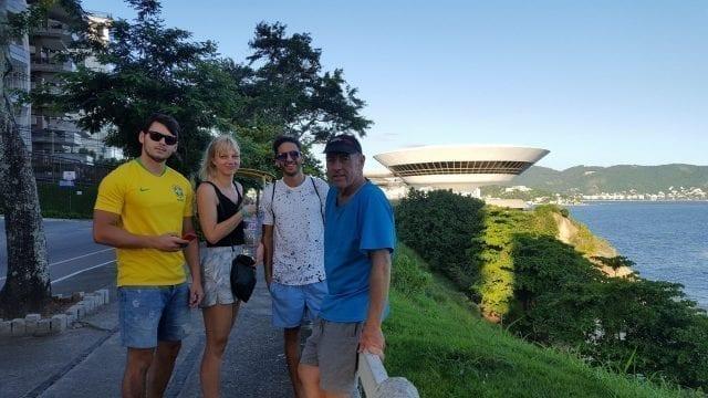 Watching Rio from Niterói. Foreigner students visiting Niterói.