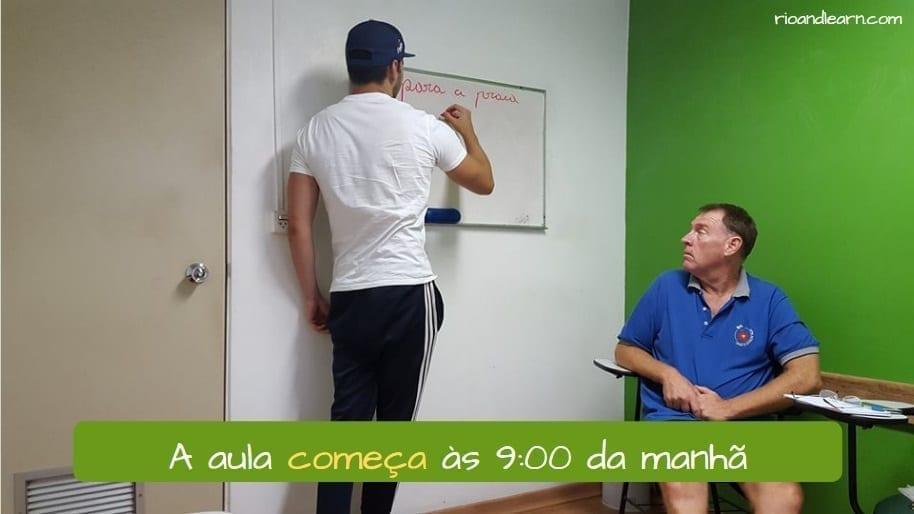 conjugação do verbo começar em português. Começar Conjugation in Portuguese. A aula começa às 9:00 da manhã