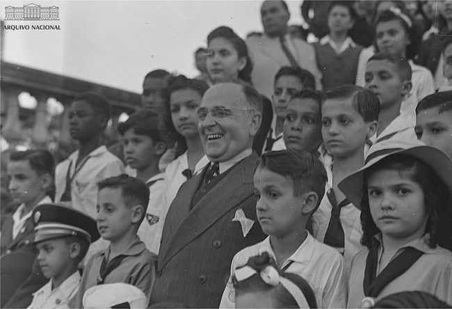 Getúlio Vargas. One of the Presidents of Brazil. In this photo he is with lots of children at the Quinta da Boa Vista Park in 1943