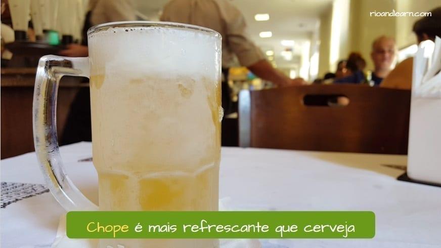 Chope Beer in Brazil. Chope é mais refrescante que cerveja.