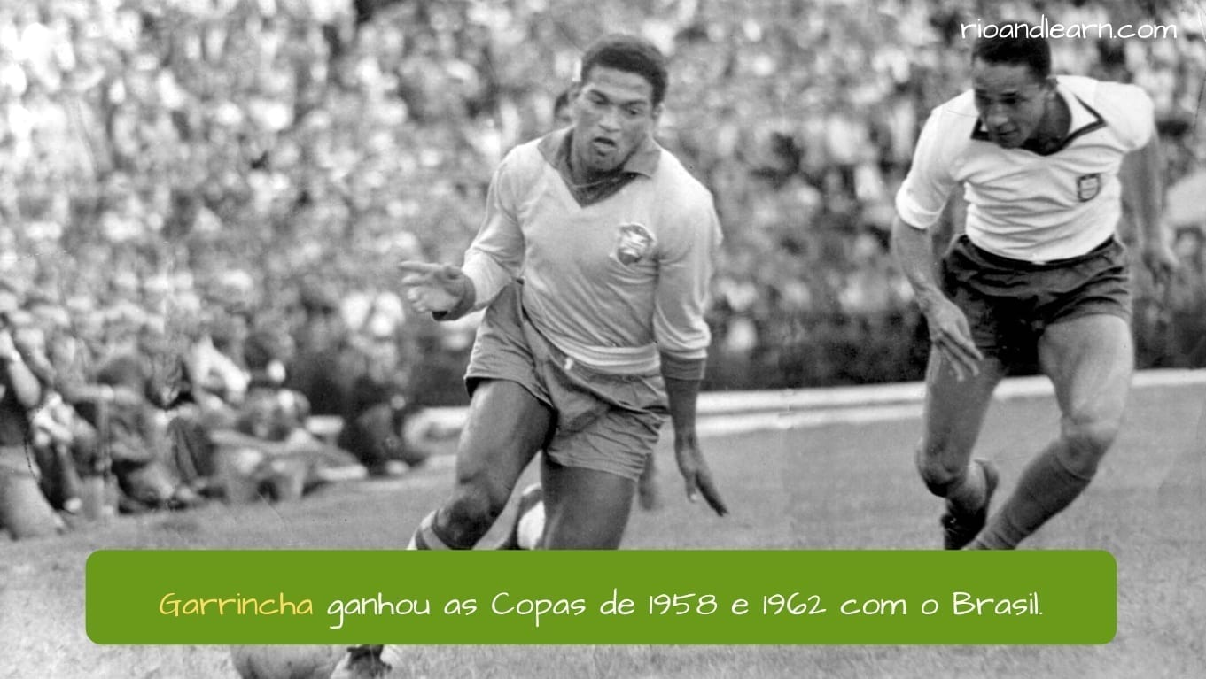 Garrincha Football Player. Garrincha ganhou as Copas de 1958 e 1962 com o Brasil.