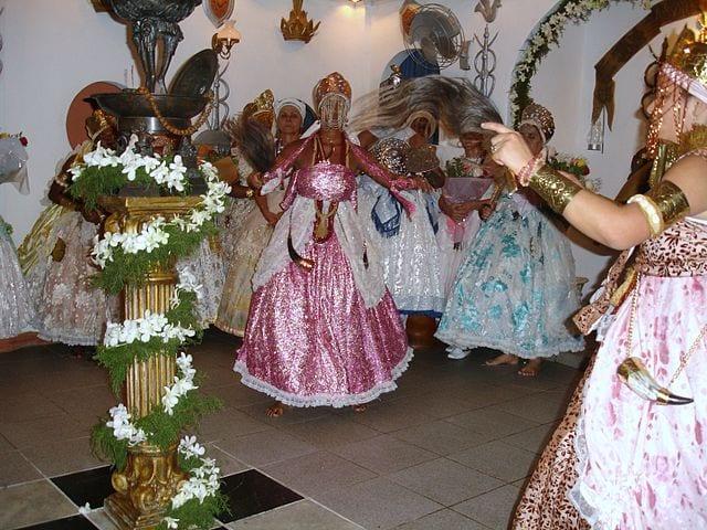Ceremonia de candomblé en Brasil.