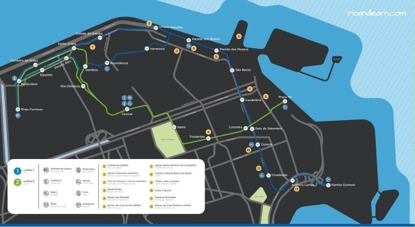 Rio de Janeiro Light Rail Map. VLT Carioca.
