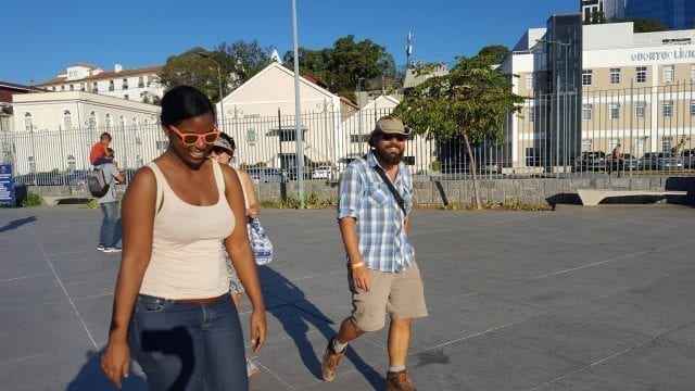 Students Walking along the Port of Rio.