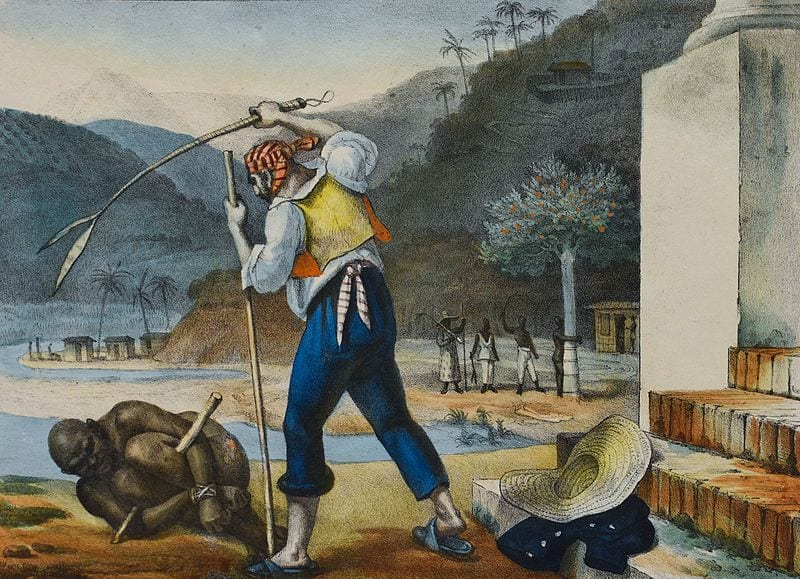 Slavery in Brazil: overseers punishing a slave in a rural estate.