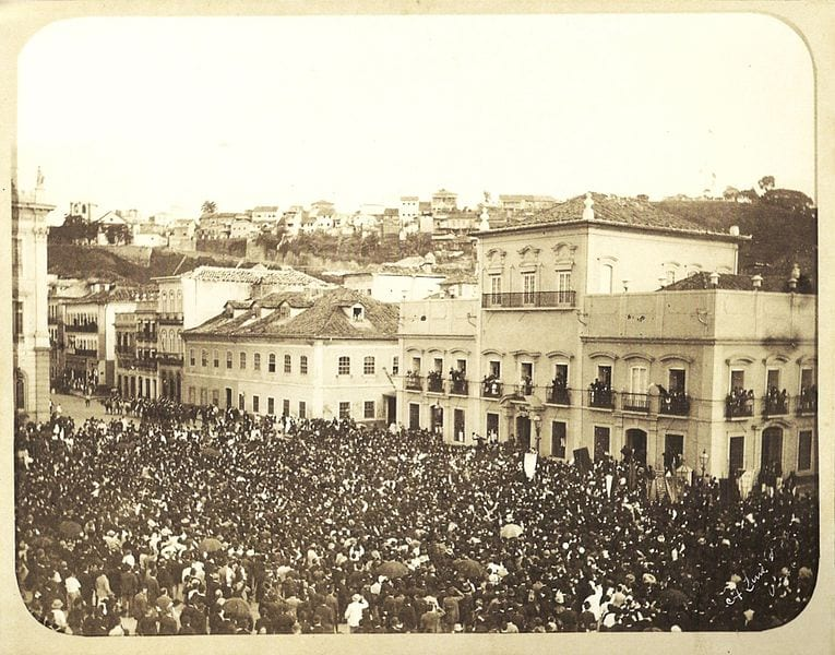 Slavery in Brazil ended in 1888 with the Golden Law. Crowd cheers Princess Isabel after signing the Golden Law that freed all slaves on May 13th 1888.