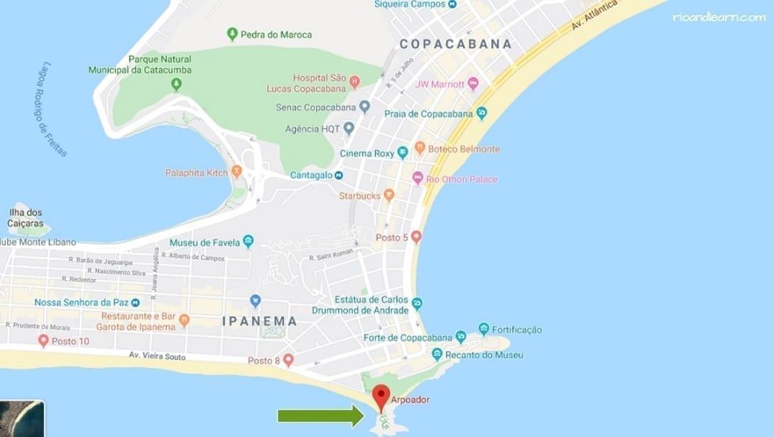 Map of Arpoador beach in Rio de Janeiro.