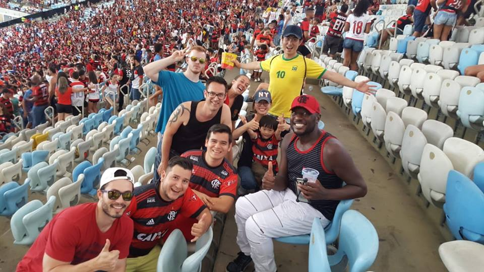 Students posing for a photo at Maracanã stadium