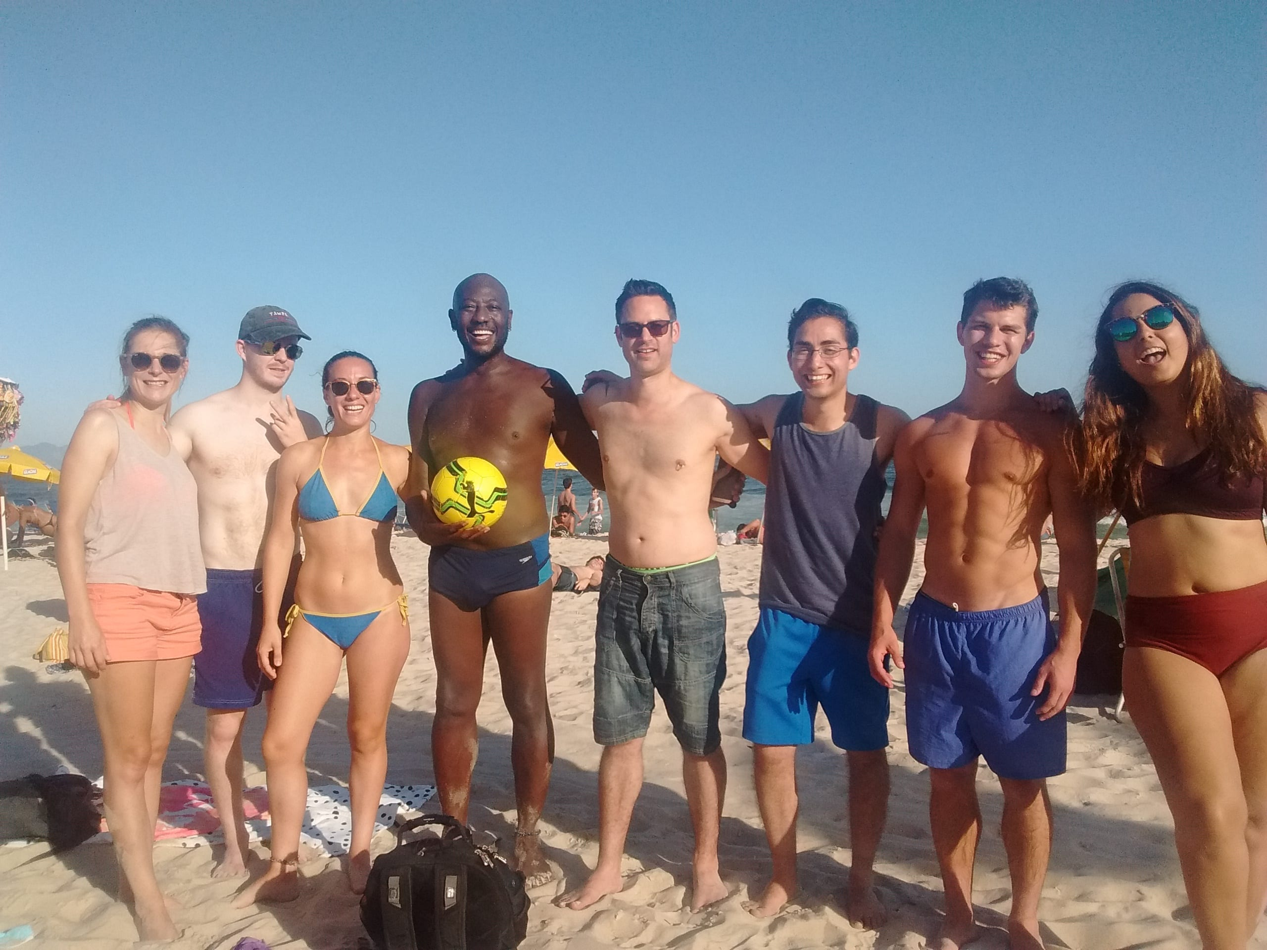 We had an amazing afternoon playing Football in Copacabana among friends.