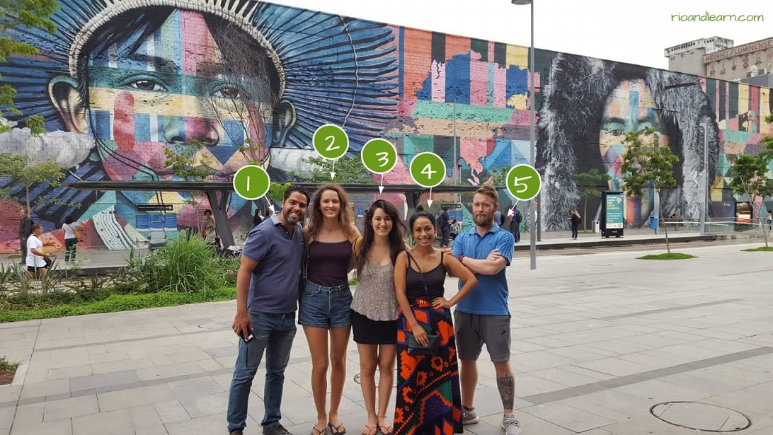 Ejercicio sobre Ropas en portugués. Los estudiantes en el Porto Maravilha.