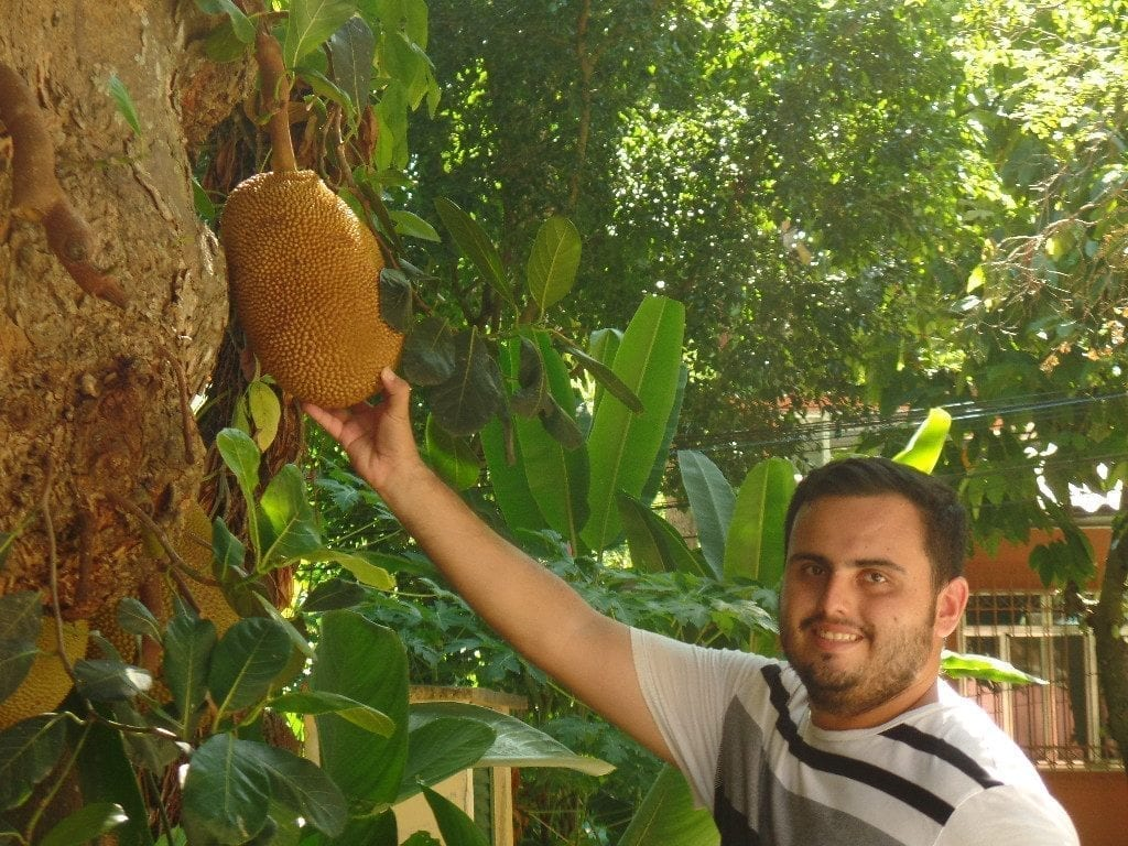 Eat Jaca at Parque Lage. Portuguese student holding a jackfruit.