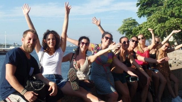 RioLIVE! Urca. Farewell party at Urca. Students cheering up. Urca wall