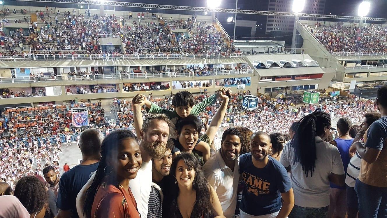 Foreign students at the Sambadrome Marquês de Sapucaíin Rio de Janeiro.