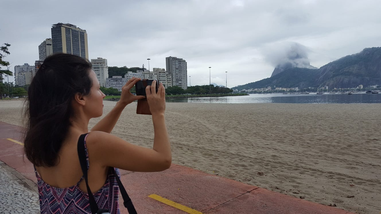 Waiting for the Sugarloaf to clear. Taking a picture of the Sugarloaf in a cloudyday.