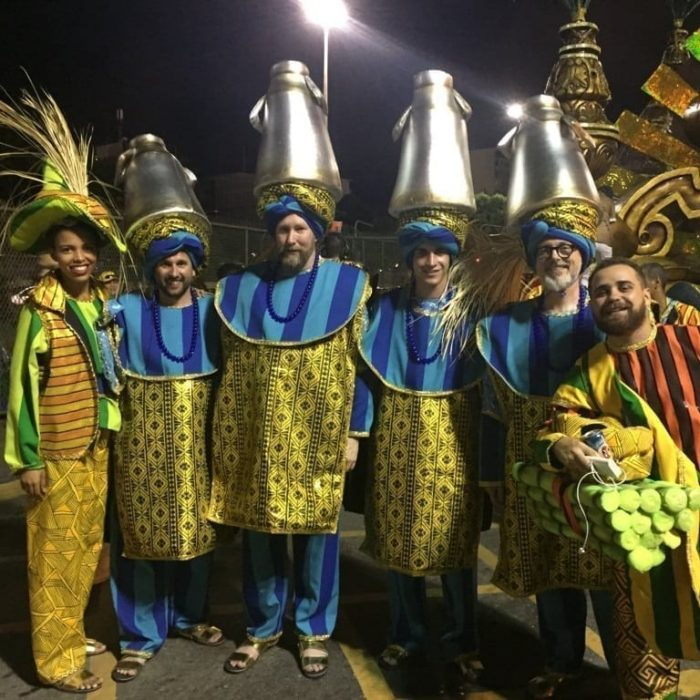 Parade in Rio Carnival. Foreigners wearing a Carnival Costume to dance in Rio de Janeiro Carnival.