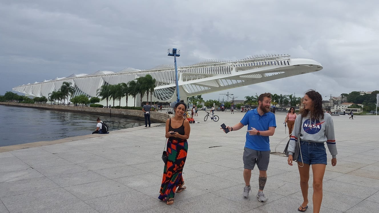 Three students leaving Museum of Tomorrow in Rio de Janeiro.