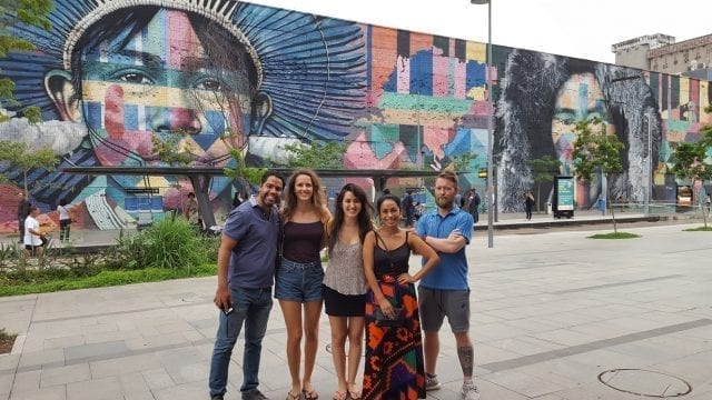 Portuguese and History at the Port. Students of Portuguese at Etnias wall, the largest graffiti wall in the world.