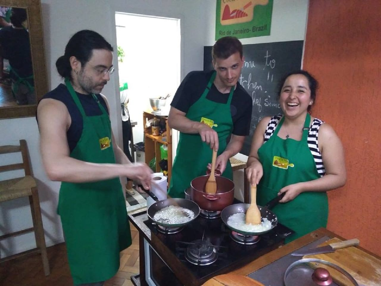 Students preparing Brazilian food.
