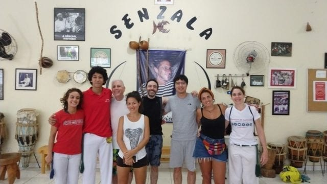 Capoeira at Senzala. Foreigners doing Capoeira.