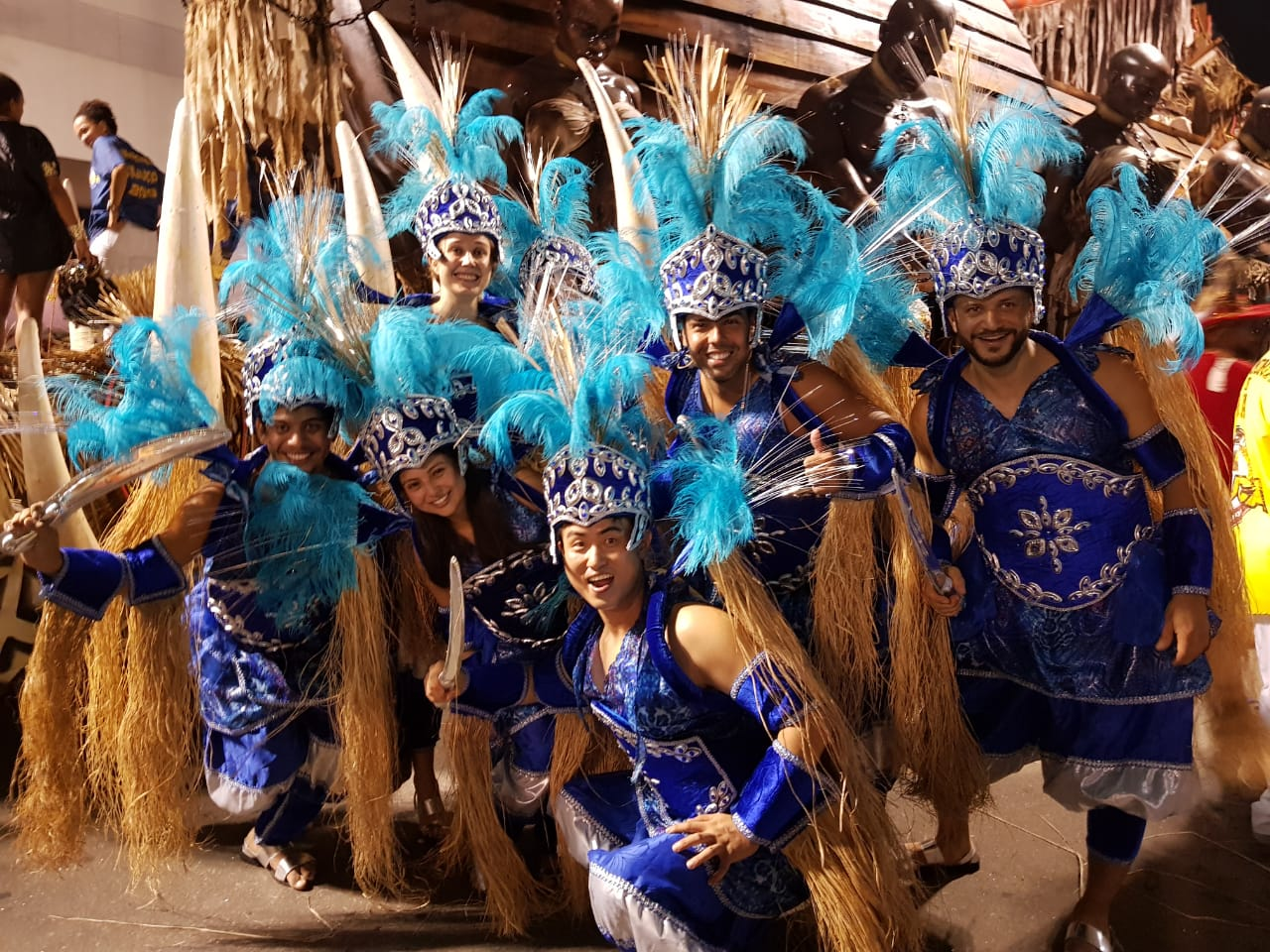 Parede in Rio de Janeiro Carnival. Group of foreign people getting ready to be part of the Rio Carnival Parade 2019 for Unidos da Tijuca Samba School, wearing blue costumes that represent the African Orisá Ogum.