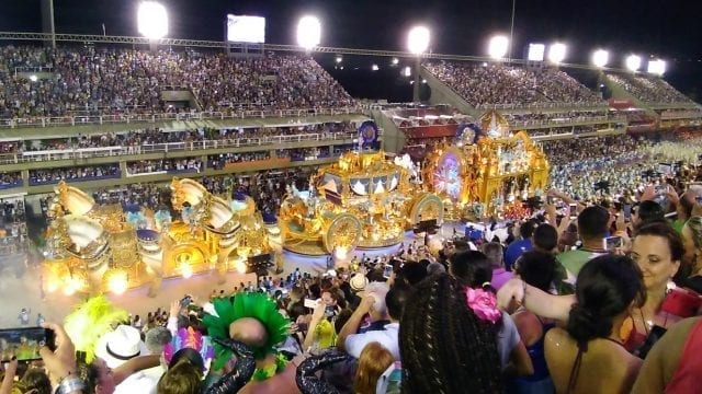 A sight for sore eyes.A big parade car in Rio's Carnival.