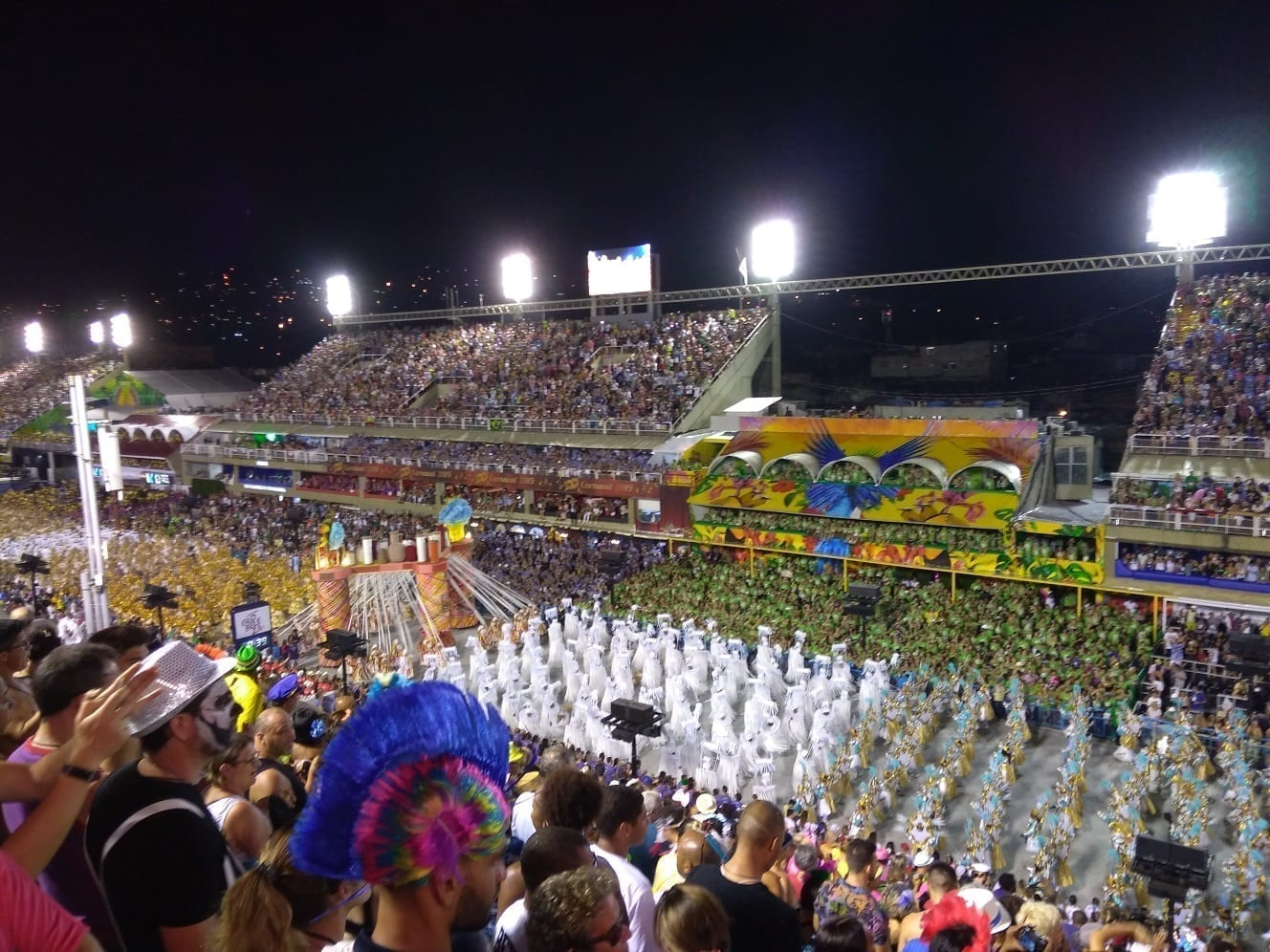 Crowded grandstands, full of people watching the Carnival Parades in Rio.