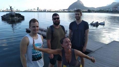 Divirténdonos en la Lagoa Rodrigo de Freitas.