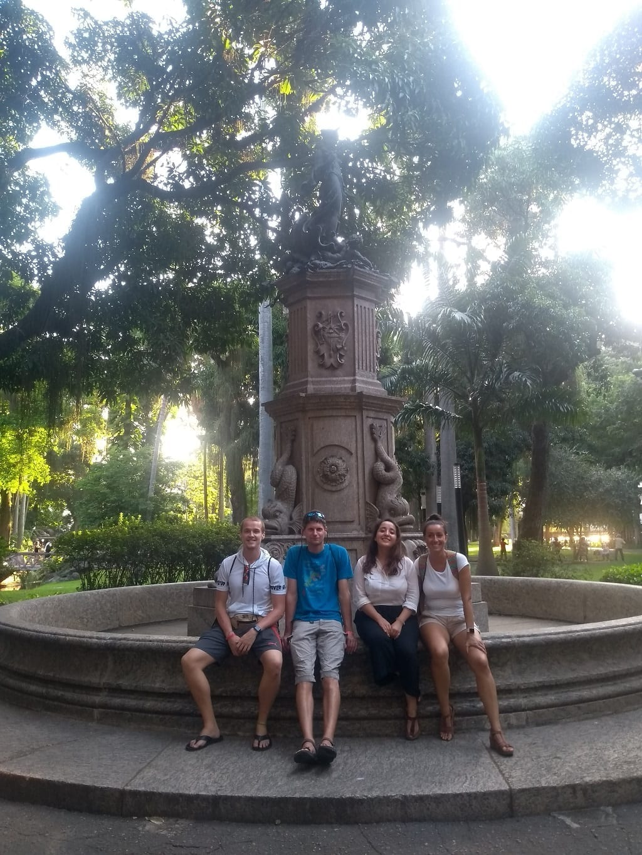 Resting at the fountain in Catete Park in Rio de Janeiro