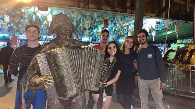 We had a great São João Party at Feira de São Cristóvão. Students with statue of Luiz Gonzaga.
