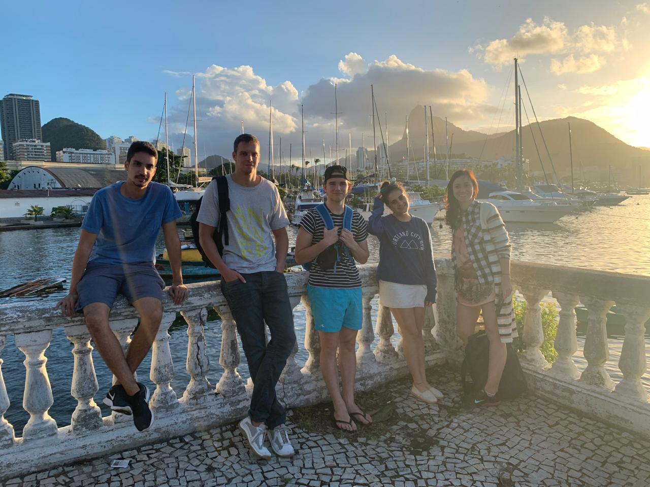Learning Portuguese at Urca. Foreign students enjoying a beautiful sunset at Urca neighborhood.