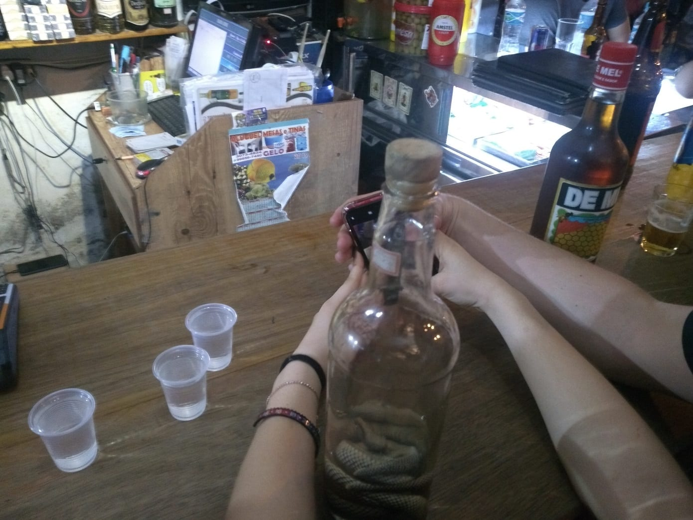 Students want to Drink snake cachaça in Lapa.