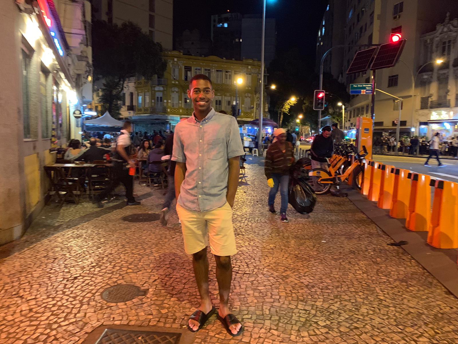 Rio & Learn's student Samuel posing in Lapa, Rio de Janeiro.