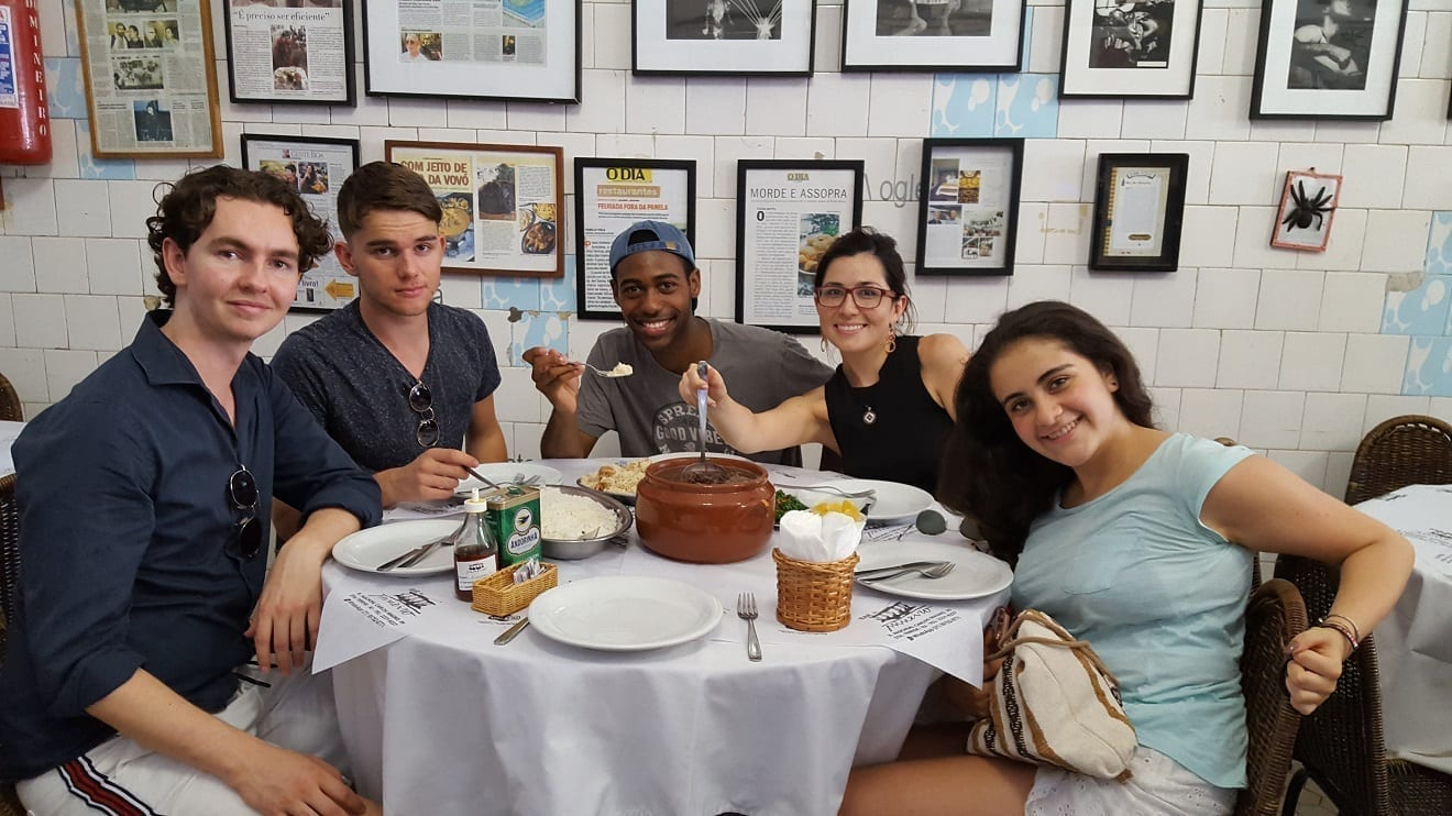 First of many Feijoadas. Our students having a delicious Feijoada at Bar do Mineiro.