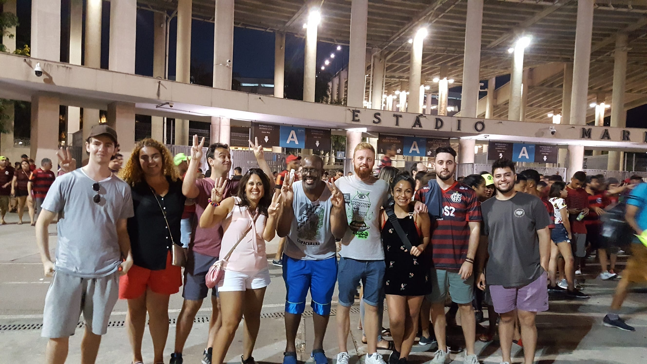 Students in forn to the Maracanã Stadium at the end of the match between Flamengo and Botafogo.