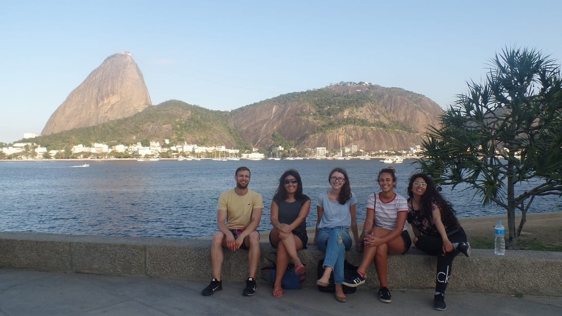 Students enjoying the winter vibes at Botafogo beach.