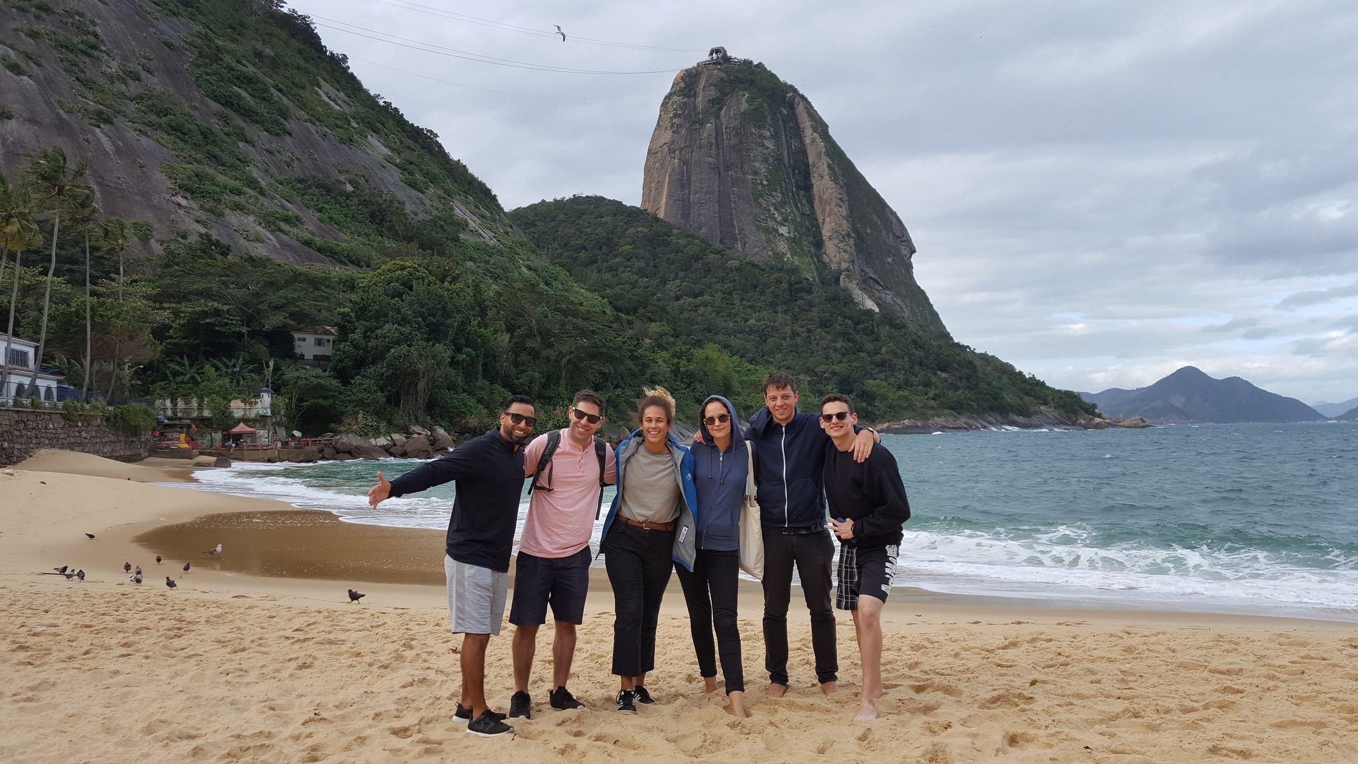 A bit cold, yet beautiful Praia Vermelha. View of the Sugar loaf from Praia Vermelha in Rio de Janeiro.