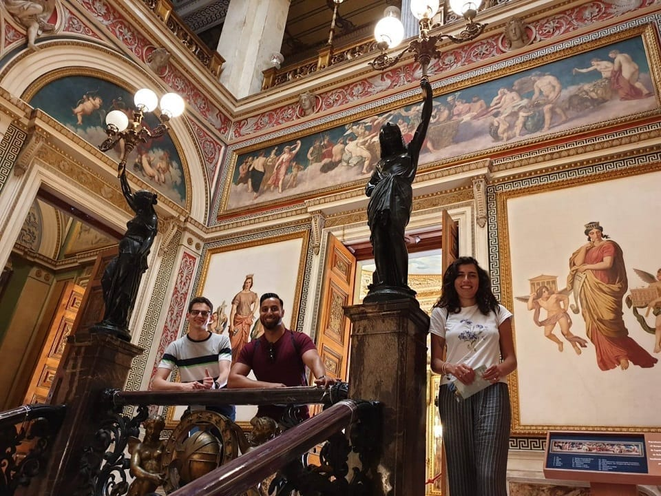 Students inside Catetes Palace in Rio de Janeiro.