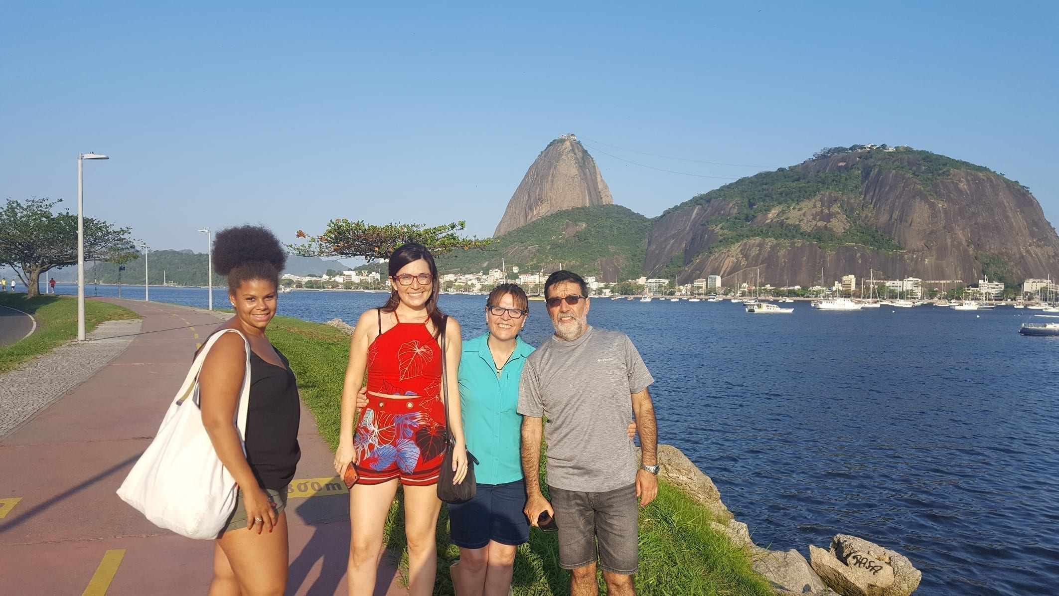 Rio of Saint Sebastian. Walking by the Botafogo cove and enjoying the view of the Sugarloaf Mountain.