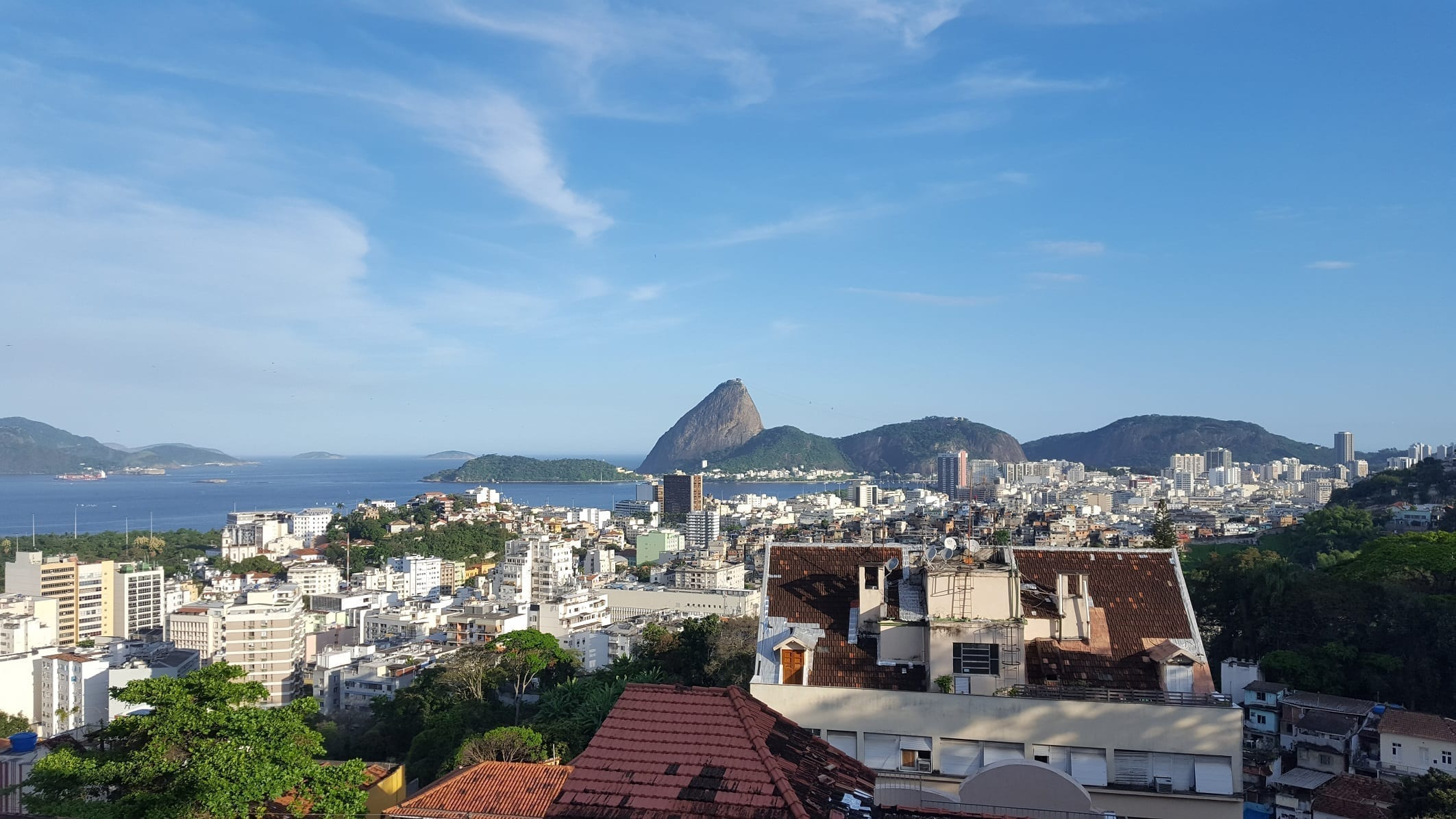 View of the Sugarloaf mountain from the top of Ruins Park in Santa Teresa