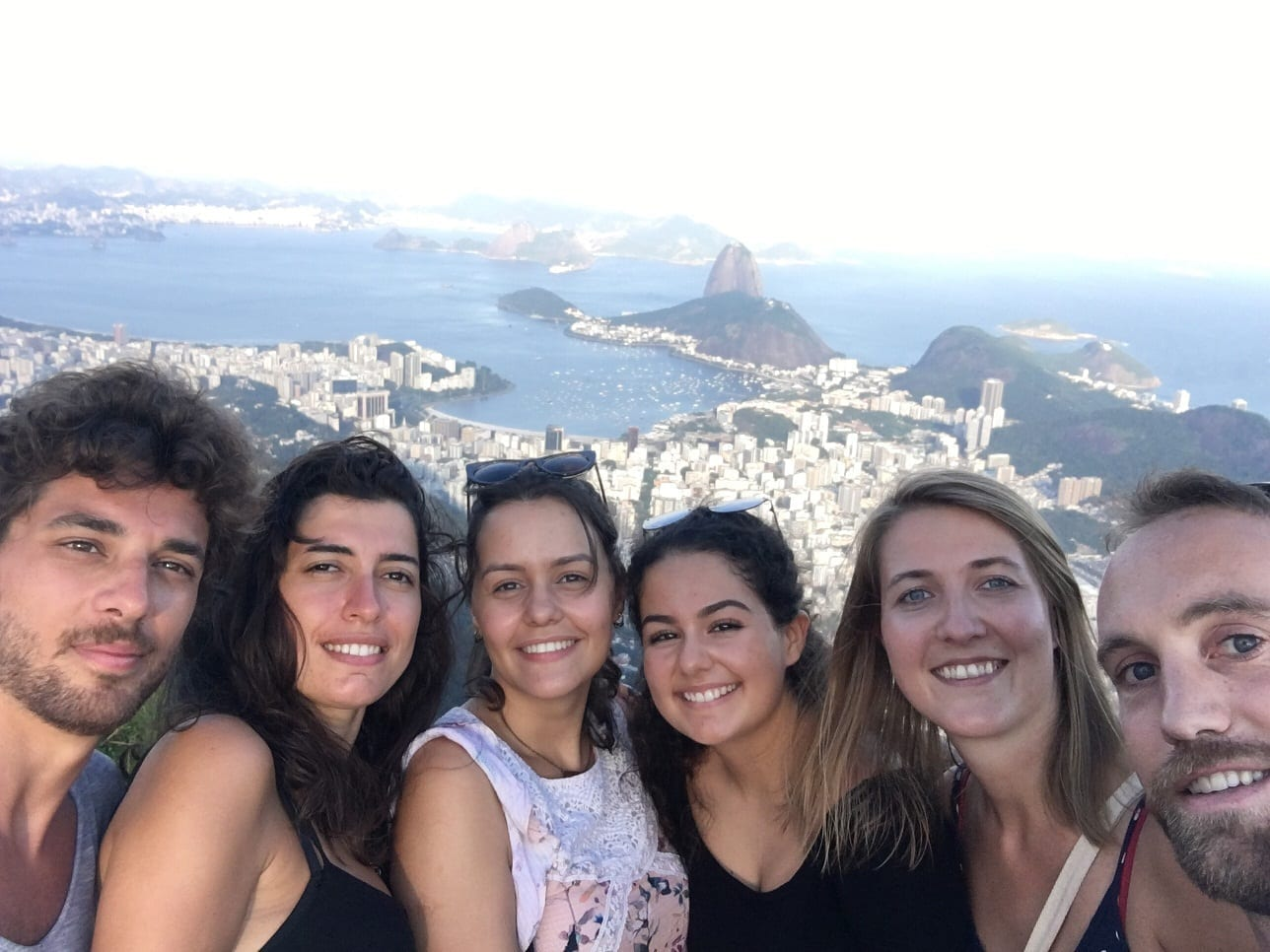 Students enjoying the amazing view from Corcovado Mountain