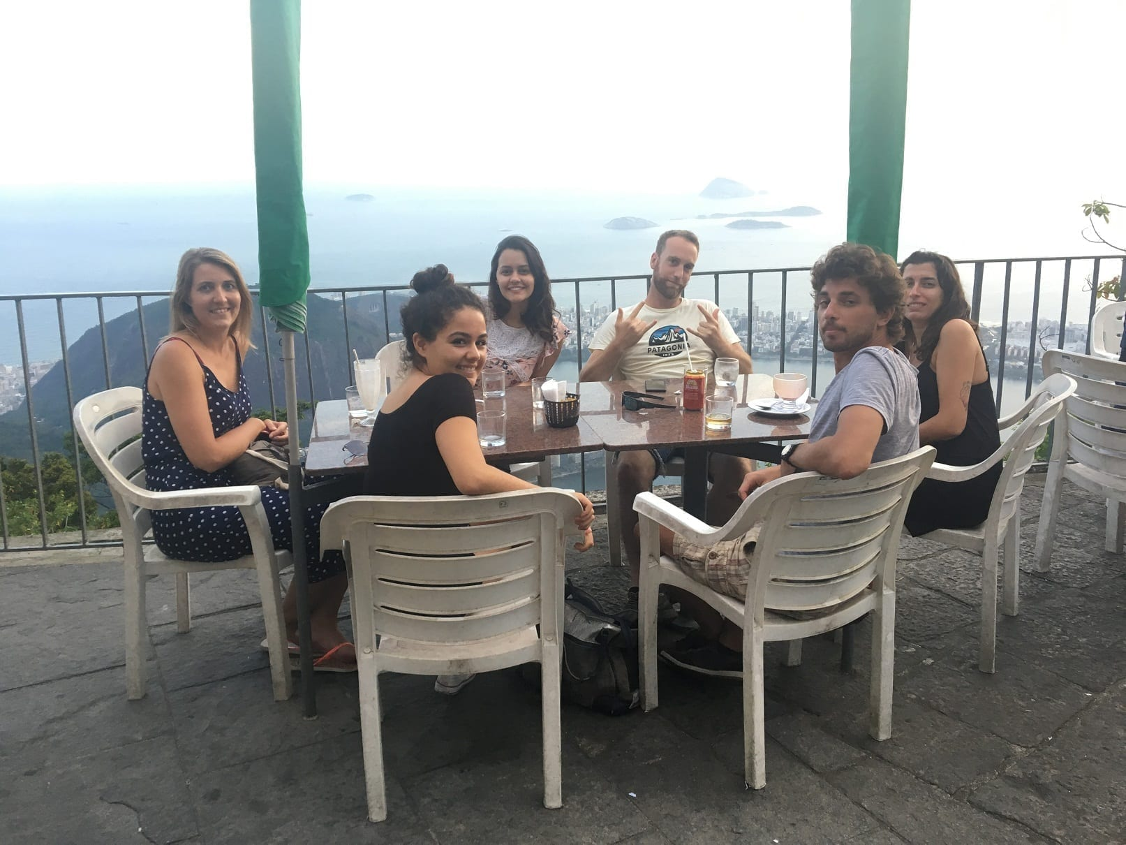 Students having drinks and ice cream with view from Corcovado