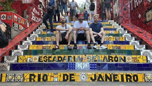 Students at Selaron staircase